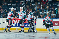 KELOWNA, CANADA - APRIL 7: Rodney Southam #17, Jack Cowell #8, Brodan Salmond #31 and Dillon Dube #19 of the Kelowna Rockets take part in a pre game ritual against the Portland Winterhawks on April 7, 2017 at Prospera Place in Kelowna, British Columbia, Canada.  (Photo by Marissa Baecker/Shoot the Breeze)  *** Local Caption ***