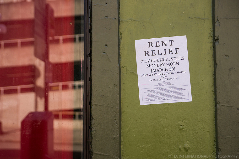 Rent Relief Notice, Pioneer Square, Downtown (April 4, 2020).