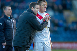 Airdrie's manager Steve Findlay and Airdrie's Daryll Duffy. Raith Rovers 2 v 1 Airdrie, Scottish Football League Division One game played 10/2/2018 at Stark's Park, Kirkcaldy.