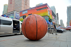 May 5, 2018 - Shenyan, Shenyan, China - Shenyang, CHINA-A giant basketball can be seen on street in Shenyang, northeast China's Liaoning Province, celebrating the victory of Liaoning Hengye Leopard Basketball Club at CBA final. (Credit Image: © SIPA Asia via ZUMA Wire)