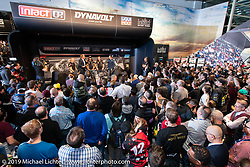 Unveiling ceremony of a new bike for the new Dynavolt Intact GP Moto 2 Team with Swiss Riders Tom Lüthi and Jesko Raffin and German Rider Marcel Schrötter at the Swiss-Moto Customizing and Tuning Show. Zurich, Switzerland. Sunday, February 24, 2019. Photography ©2019 Michael Lichter.