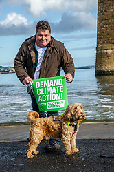 Pictured: Candidate David Nairne and Dougie the dog<br /><br />The party's co-leaders, Patrick Harvie and Lorna Slater, wete joined  by candidates as they gathered at the iconic Forth Bridge to launch their general election campaign, demanding climate action.<br /><br />Ger Harley | EEm 8 November 2019