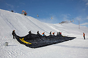 GB Park & Pipe, the freestyle ski and snowboard Olympic development team, on the first day of constructing a brand new winter training facility in Mottolino Snow Park on 1st December 2017 in Livingo, Italy. The Big Air Bag is the first of its kind and has been developed by the GB Park & Pipe's Hamish McKnight and Lesley McKenna. The air bag was built by BigAirBag company from Holland.