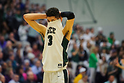 Rice's Kam Farris (3) reacts to a call during the Vermont state division I boys basketball semifinal game between the Mount Mansfield Cougars and the Rice Green Knights at Patrick Gym on Thursday night March 15, 2018 in Burlington. (BRIAN JENKINS/for the FREE PRESS)