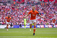 Blackpool's Brad Potts celebrates scoring the opening goal <br /> <br /> Photographer Craig Mercer/CameraSport<br /> <br /> The EFL Sky Bet League Two Play-Off Final - Blackpool v Exeter City - Sunday May 28th 2017 - Wembley Stadium - London<br /> <br /> World Copyright © 2017 CameraSport. All rights reserved. 43 Linden Ave. Countesthorpe. Leicester. England. LE8 5PG - Tel: +44 (0) 116 277 4147 - admin@camerasport.com - www.camerasport.com
