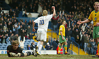 Photo: Aidan Ellis.<br /> Leeds United v Norwich City. Coca Cola Championship. 11/03/2006.<br /> Leeds Rob Hulse celebrates his goal and the first of the game.