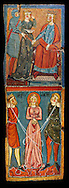 Gothic painted wood panels with scenes of the Martyrdom of Saint Lucy<br /> Circa 1300. Tempera on wood. Date Circa 1300. Dimensions 68.3 x 25.3 x 1 cm. From the parish church of Santa Llúcia de Mur (Guàrdia de Noguera, Pallars Jussà). National Museum of Catalan Art, Barcelona, Spain, inv no: 035703-CJT .<br /> <br /> If you prefer you can also buy from our ALAMY PHOTO LIBRARY  Collection visit : https://www.alamy.com/portfolio/paul-williams-funkystock/gothic-art-antiquities.html  Type -     MANAC    - into the LOWER SEARCH WITHIN GALLERY box. Refine search by adding background colour, place, museum etc<br /> <br /> Visit our MEDIEVAL GOTHIC ART PHOTO COLLECTIONS for more   photos  to download or buy as prints https://funkystock.photoshelter.com/gallery-collection/Medieval-Gothic-Art-Antiquities-Historic-Sites-Pictures-Images-of/C0000gZ8POl_DCqE
