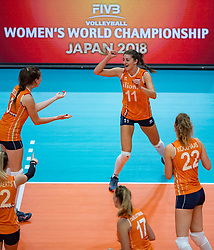 03-10-2018 NED: World Championship Volleyball Women day 5, Yokohama<br /> Argentina - Netherlands 0-3 / Anne Buijs #11 of Netherlands