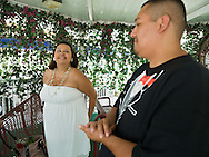 5th June 2010. Las Vegas, Nevada. Known around the world as one of the most Famous places to be married, The Little White Wedding Chapel in Las Vegas has wed stars from Britney Spears to Judy Garland. Pictured are Jennifer Salizar, 25, and Adam Rodrigez, 27 from Chicago. They married in the same chapel that Britney tied the knot. PHOTO © JOHN CHAPPLE / www.chapple.biz.john@chapple.biz  (001) 310 570 9100.