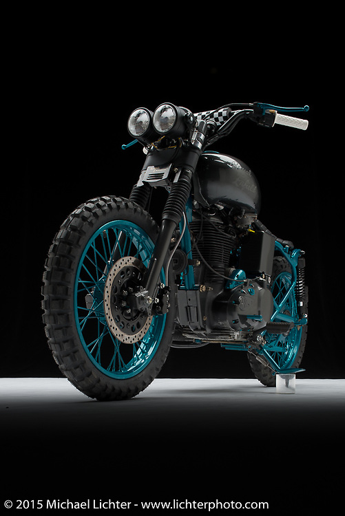 """""""Dirt Bauber"""", built from a Royal Enfield B5 by AJ Harris of North Texas Tattoo Company in Fort Worth, TX. Photographed by Michael Lichter in Sturgis, SD on July 30, 2017. ©2017 Michael Lichter."""