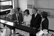 Taoiseach Liam Cosgrave visits Sugar Factory, Carlow.07/07/1976.07/07/1976.7th July 1976..Picture of Liam Cosgrave  viewing the research and development section of the Carlow Sugar Factory.