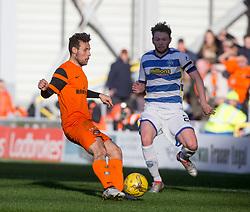 Dundee United's Thomas Mikkelsen and Morton's Lee Kilday. Dundee United 1 v 1 Morton, Scottish Championship game played 25/2/2017 at Tannadice Park.