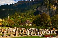 Cemetery, Lauterbrunnen, Bernese Oberland, Switzerland.