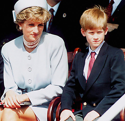 Diana, Princess of Wales with Prince William and Prince Harry at the Heads Of State Service for VE Rememberance Day, held in Hyde Park, London on May 7, 1995.