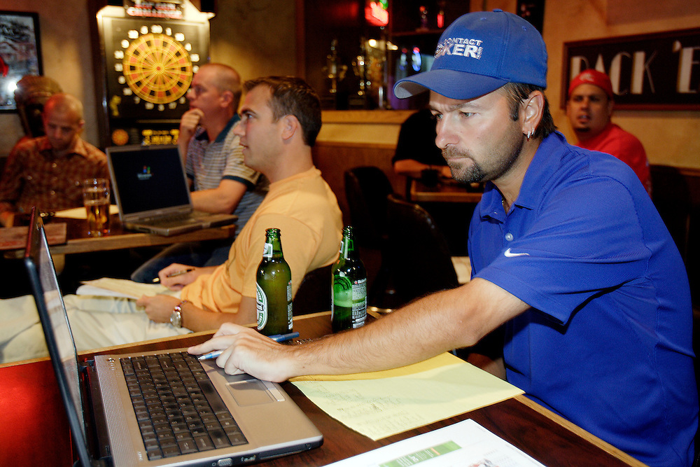LAS VEGAS, NEVADA, August 19, 2007: Professional Poker player Daniel Negreanu was in Las Vegas, Nevada on August 19, 2007 to participate in a fantasy football league whereby participants purchase players at a draft auction and then track the  performance of those players throughout the year and accumulate points.