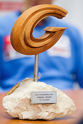 Trophy of Rok Perko during press conference of Slovenian Ski Association - SZS after he placed second at ski downhill in Val Gardena (ITA), on December 18, 2012 in Ljubljana, Slovenia. (Photo By Vid Ponikvar / Sportida.com)