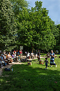 Drummers meet in Prospect Park's Drummer's Grove to play rhythms primarily from West Africa.