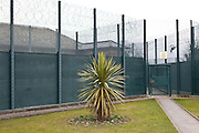 The gardens and exterior security gate number 8 at HMP Downview