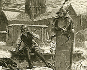 'A Goblin, a familiar demon, appearing to the drunken, Scrooge-like Sexton, Gabriel Grubb as he digs a grave on Christmas Eve. 1883 Illustration for ''The Goblins Who Stole a Sexton'', 1837, by Charles Dickens.'