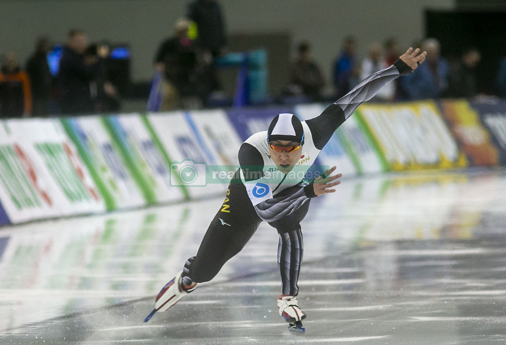 March 9, 2019 - Salt Lake City, Utah, USA - Tatsuya Shinhama of Japan competes in the 500m speed skating finals at the ISU World Cup at the Olympic Oval in Salt Lake City, Utah. (Credit Image: © Natalie Behring/ZUMA Wire)