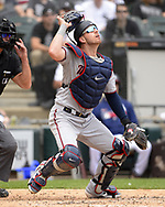 CHICAGO - JUNE 30:  Mitch Garner #18 of the Minnesota Twins catches against the Chicago White Sox on June 30, 2019 at Guaranteed Rate Field in Chicago, Illinois.  (Photo by Ron Vesely)  Subject:  Mitch Garner