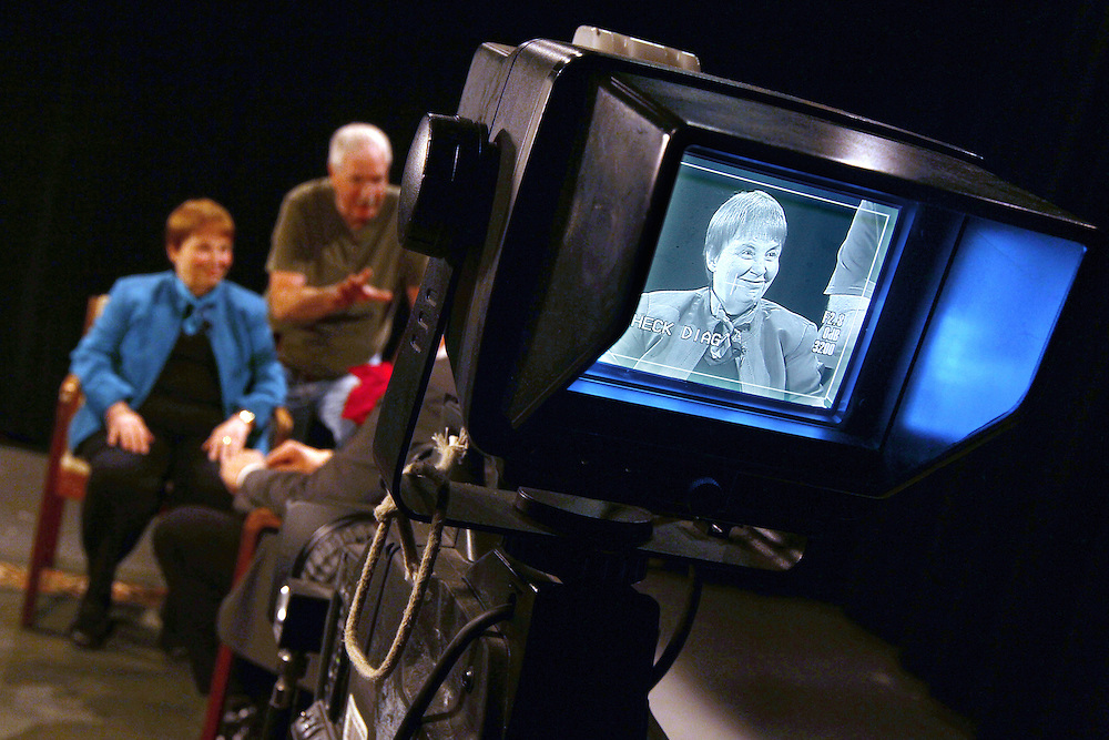 A camera is trained on Judy Corrao as she and the crew prepare to film The Judy Corrao Show at The Minneapolis Television Network in Minneapolis December 12, 2012.