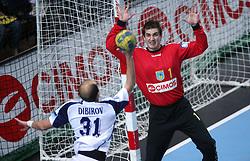 Timur Dibirov vs Goalkeeper of Koper Blaz Voncina at handball match RK Cimos Koper vs Chehovskie Medvedi (RUS) in E group of EHF Champions league Men 2008/2009, on October 4, 2008 in Arena Bonifika, Koper, Slovenia. Chehovskie Medvedi won 35:28. (Photo by Vid Ponikvar / Sportal Images)