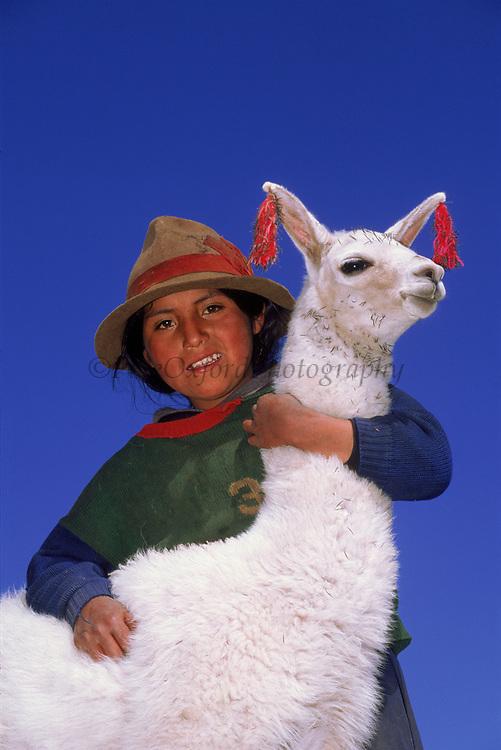 Indian Girl with Llama<br />Lama glama<br />near Cusco<br />PERU,  South America