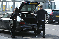 EXCLUSIVE Frank Lampard is seen dropping his wife Christine Bleakley off at London's Heathrow airport. The happy couple made it a family affair by bringing their pet dog along for the ride.<br /> <br /> 26 September 2017.<br /> <br /> Please byline: Vantagenews.com