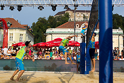 Jan Pokersnik strikes at Beach Volleyball Challenge Ljubljana 2014, on August 2, 2014 in Kongresni trg, Ljubljana, Slovenia. Photo by Matic Klansek Velej / Sportida.com