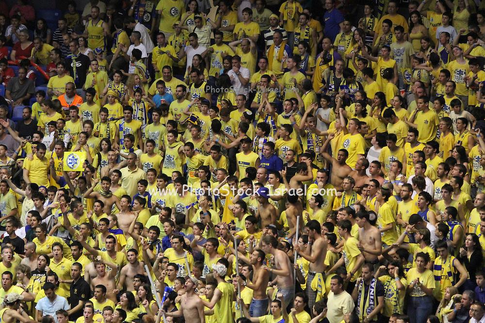 Maccabi Tel Aviv Basketball fans at the Yad Eliyahu Stadium. Tel Aviv Israel