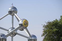 July 6, 2019 - Brussels, Belgium - Illustration picture shows a decorated yellow sphere of the Atomium, during the first stage of the 106th edition of the Tour de France cycling race, 194,5km from and to Brussels, Belgium, Saturday 06 July 2019. This year's Tour de France starts in Brussels and takes place from July 6th to July 28th. (Credit Image: © Yorick Jansens/Belga via ZUMA Press)
