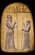 Marduk-Baladan or Merodach-baladan II, chief of the Bit-Yakin tribe and King of Babylon. Reigned 722-710 + 703-702 BCE. Merodach-Baladan, King of Babylon, shown on a boundary stone talking with a vassal.  (reigned 722 BC – 710 BC, 703 BC – 702 BC) was a Chaldean prince who usurped the Babylonian throne in 721 BC.