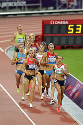 Jessica Ennis of Great Britain during the 800m meters.  The final event of the Women's Heptahlon held at the Olympic Stadium in Olympic Park in London as part of the London 2012 Olympics on the 4th August 2012..Photo by Ron Gaunt/SPORTZPICS