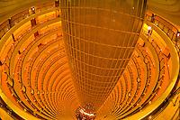 The interior courtyard atrium of the Grand Hyatt Shanghai Hotel inside the Jin Mao Tower, Shanghai, China