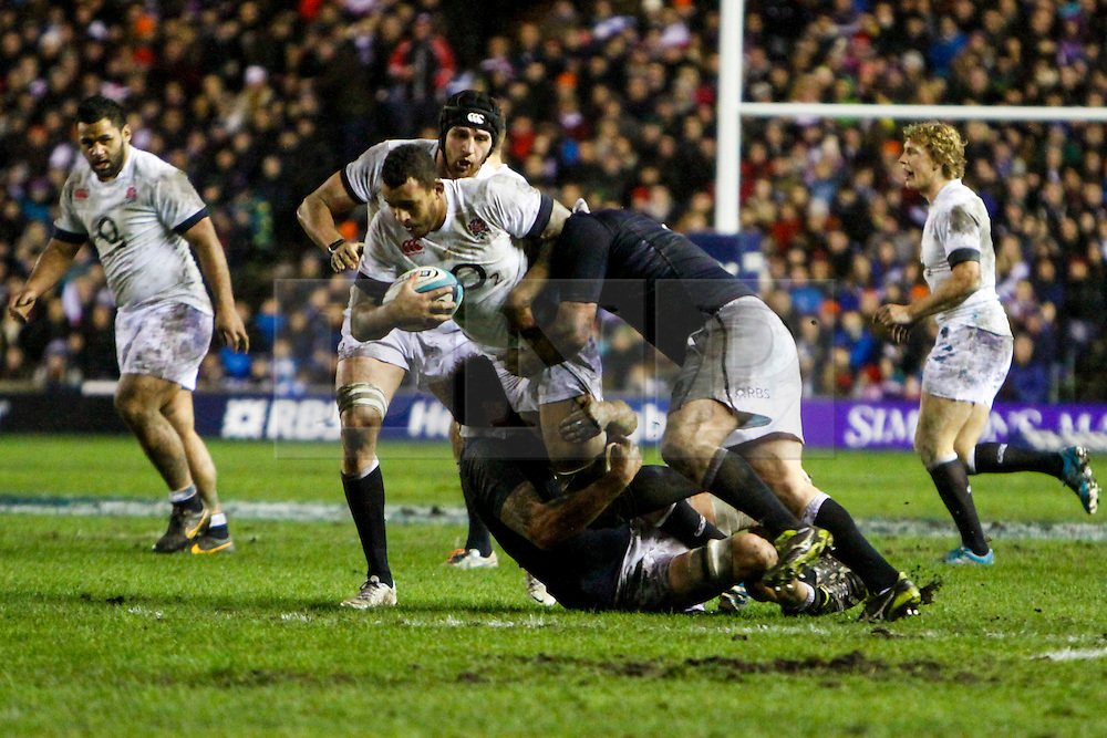 © Licensed to London News Pictures. 08/02/2014. Edinburgh, Scotland. <br /> Courtney Lawes (ENG) attempting to break through the Scotland Defense Scotland take on England for the Calcutta cup at the RBS 6 Nations rugby tournament at Murrayfield in Edinburgh.  Photo credit : Duncan McGlynn/LNP