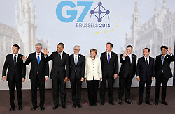 © Licensed to London News Pictures. 05/06/2014. Brussels, BELGIUM.<br /> G7 SUMMIT Family Photo, 5/6/2014<br /> G7 leaders (L-R), Matteo Renzi, Stephen Harper,Barack Obama,Herman Van Rompuy ,Angela Merkel,David Cameron,Jose Manuel Barroso,Francois Hollande,Shinzo Abe. Photo credit : RICH BOWEN/LNP