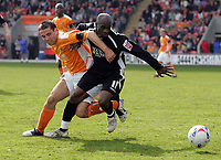 Photo: Paul Thomas.<br /> Blackpool v Swansea City. Coca Cola League 1. 15/04/2006.<br /> <br /> Swansea'a Adrian Forbers tries to get away from Blackpool's Rory Prendergast.