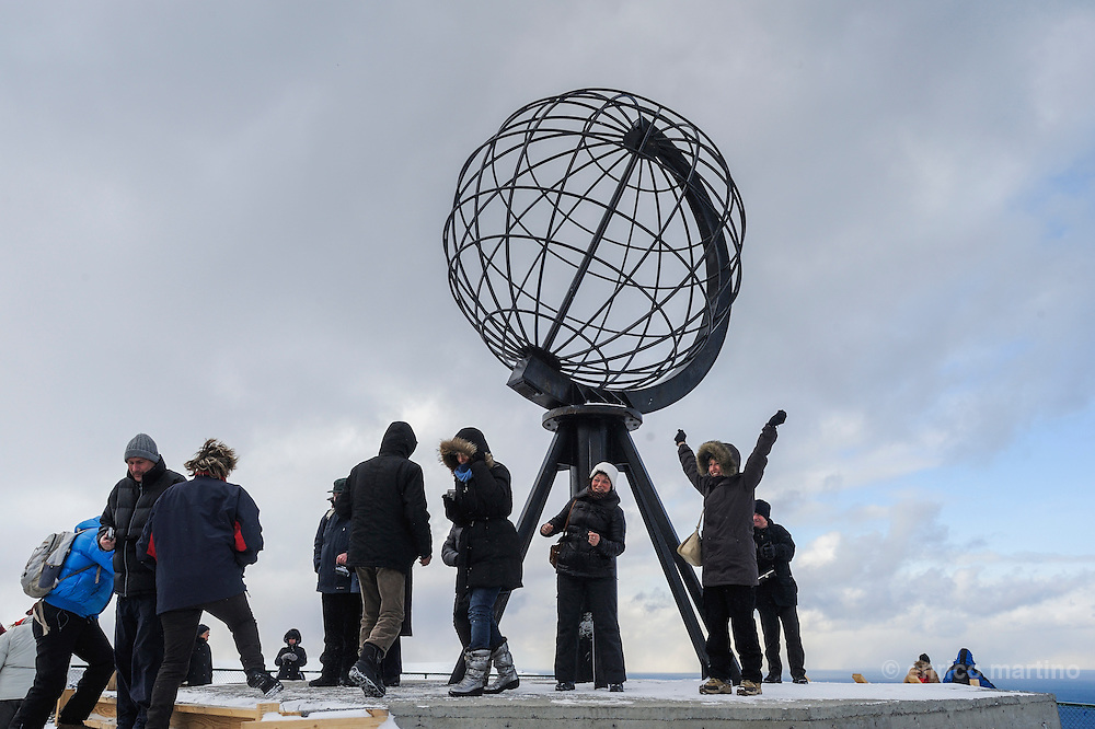 North Cape, the Globe. North Cape is a cape on the island of Magerøya in northern Norway, in the municipality of Nordkapp. Its 307 m high, steep cliff is often referred to as the northernmost point of Europe, located at 71°10′21″N, 2102.3 km from the North Pole.