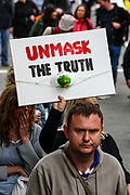 "Anti-lockdown protesters, who believe that the coronavirus pandemic is a hoax, gathered at the 'Unite For Freedom' rally in Trafalgar Square and marched towards Downing Street in central London on Saturday, Aug 29, 2020. Police officers and members of the press wearing face masks who are monitoring the gathering are often shouted at ""take off the Mask"". (VXP Photo/ Vudi Xhymshiti)"