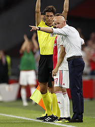 (L-R) Daley Blind of Ajax, Ajax coach Erik ten Hag during the UEFA Champions League second round qualifying first leg match between Ajax Amsterdam and Sturm Graz at the Johan Cruijff Arena on July 25, 2018 in Amsterdam, The Netherlands