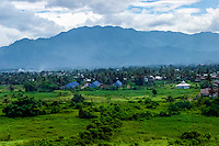 West Sumatra, Padang. View over the Padang area with mountains in the background (from helicopter).
