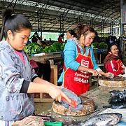 A young woman scales fish for sale at the morning market in Sam Neua (also spelled Samneua, Xamneua and Xam Neua) in northeastern Laos.