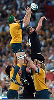 Photo. Steve Holland.Australia v New Zealand, Semi-final at the Telstra Stadium, Sydney. RWC 2003.<br />15/11/2003.<br />Justin Harrison , left, and Chris Jack , right jump in the line out.