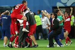 Turkish players celebrate goal in last second during the UEFA EURO 2008 Quarter-Final soccer match between Croatia and Turkey at Ernst-Happel Stadium, on June 20,2008, in Wien, Austria.  Won of Turkey after penalty shots. (Photo by Vid Ponikvar / Sportal Images)