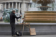 Landscape painter Rob Pointon RBSA, MAFA who calls himself a 'Plein Air Artist' in Trafalgar Square, on 20th May 2019, in London, England. Rob Pointon (b1982) has been painting since he was a child under the tutelage of his artist Grandmother, and graduated in Fine Art from Aberystwyth University before studying at The Royal Drawing School in London. Rob is an Associate member of the ROI, a member of MAFA (Manchester Academy of Fine Arts).