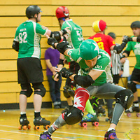 Teeside Skate Invaders take on Dorset Knobs Roller Derby in the 2017 British Championships Playoffs at Fenton Manor, Stoke-on-Trent, 2017-09-16