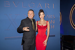 Jean-Christophe Babin and Bella Hadid arriving for the Bulgari XX 20th anniversary party in Rome