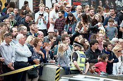 Theresa May meets with Nicola Sturgeon in Edinburgh, Tuesday 7th August 2018<br /> <br /> Pictured: The crowds booed the Prime Minister Theresa May<br /> <br /> Alex Todd   Edinburgh Elite media