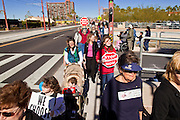 23 JANUARY 2011 - PHOENIX, AZ:  Marchers with pro-life signs during the March for Life through Phoenix, AZ, Sunday. About 500 people participated in the pro-life march and rally, which marked the 38th anniversary of the US Supreme Court's Roe vs. Wade decision, which legalized abortion in the United States.    PHOTO BY JACK KURTZ